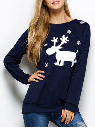 Snowflake and Deer Print Christmas Sweatshirt