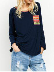 Round Neck Printed Pocket Tunic T-Shirt