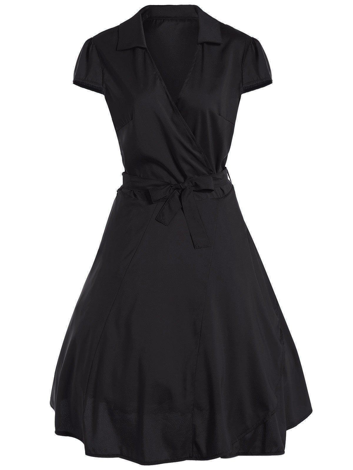 V Neck Tied Belt Surplice Skater DressWOMEN<br><br>Size: L; Color: BLACK; Style: Vintage; Material: Cotton Blend,Polyester; Silhouette: A-Line; Dresses Length: Knee-Length; Neckline: V-Neck; Sleeve Length: Short Sleeves; Pattern Type: Solid; With Belt: Yes; Season: Fall,Spring,Summer; Weight: 0.261kg; Package Contents: 1 x Dress  1 x Belt;
