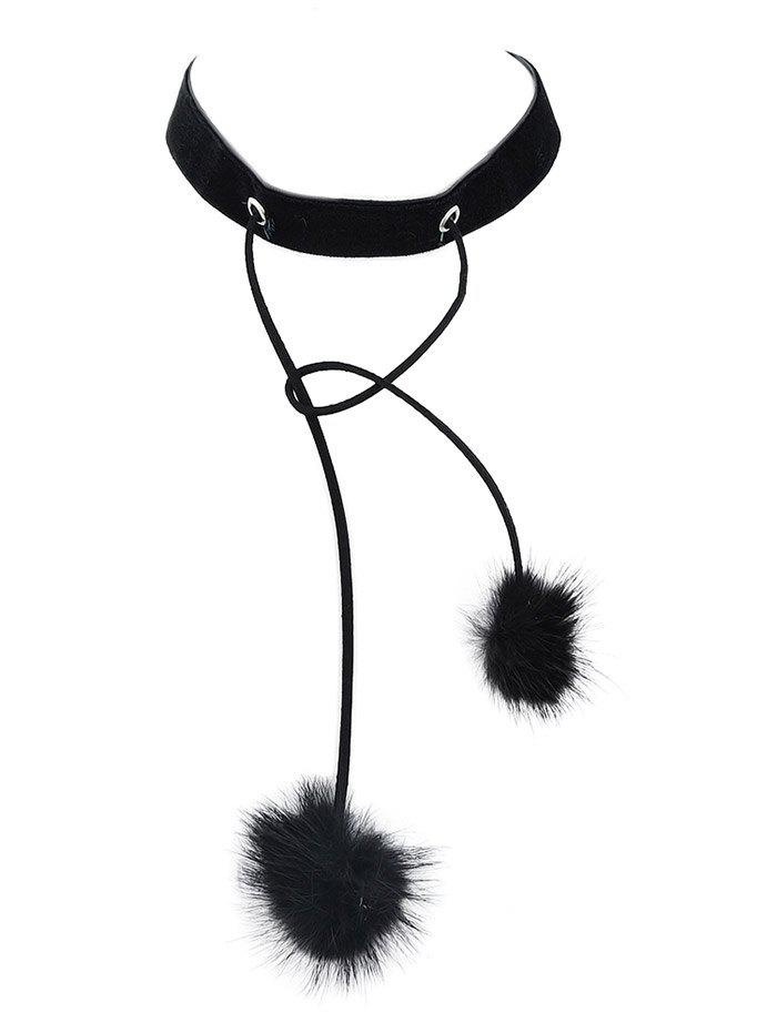 Outfits Double Fuzzy Ball Velvet Choker Necklace