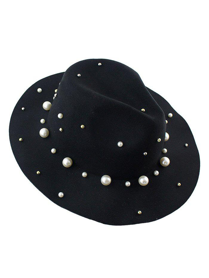 Chic Faux Pearl Felt Floppy Hat