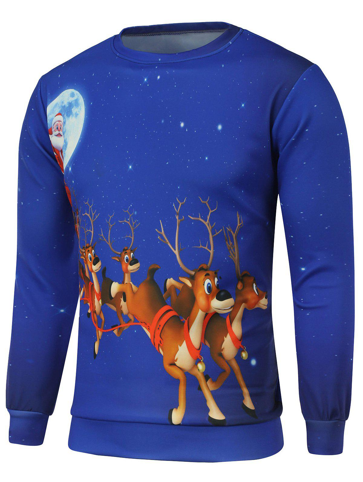 Reindeer Printed Crew Neck Christmas SweatshirtMEN<br><br>Size: M; Color: BLUE; Material: Cotton,Polyester; Shirt Length: Regular; Sleeve Length: Full; Style: Casual; Weight: 0.550kg; Package Contents: 1 x Sweatshirt;