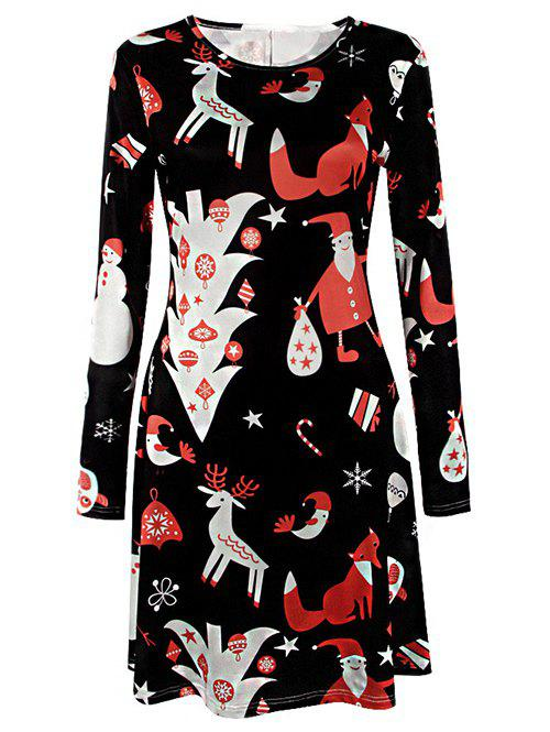 Knee Length Long Sleeve Christmas Tree DressWOMEN<br><br>Size: L; Color: BLACK; Style: Brief; Material: Polyester; Silhouette: A-Line; Dresses Length: Knee-Length; Neckline: Jewel Neck; Sleeve Length: Long Sleeves; Pattern Type: Print; With Belt: No; Season: Fall,Spring,Winter; Weight: 0.370kg; Package Contents: 1 x Dress;