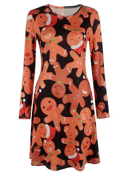 Knee Length Christmas DressWOMEN<br><br>Size: S; Color: ORANGE; Style: Brief; Material: Polyester; Silhouette: A-Line; Dresses Length: Knee-Length; Neckline: Jewel Neck; Sleeve Length: Long Sleeves; Pattern Type: Print; With Belt: No; Season: Fall,Spring,Winter; Weight: 0.370kg; Package Contents: 1 x Dress;
