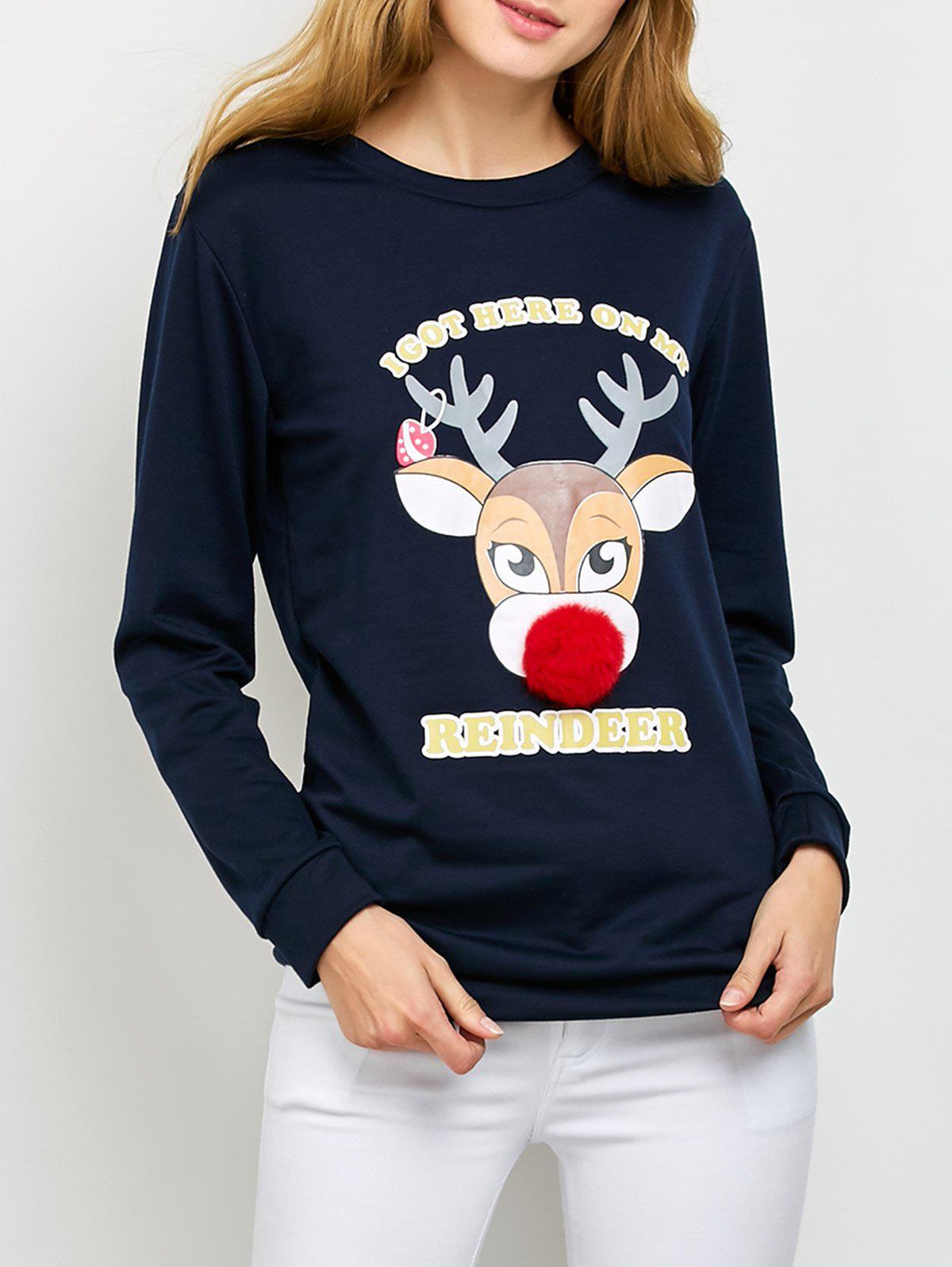 Pom Ball Christmas Reindeer Drop Shoulder SweatshirtWOMEN<br><br>Size: S; Color: PURPLISH BLUE; Material: Cotton Blend,Polyester; Shirt Length: Regular; Sleeve Length: Full; Style: Fashion; Pattern Style: Animal; Season: Fall,Spring,Winter; Weight: 0.470kg; Package Contents: 1 x Sweatshirt;