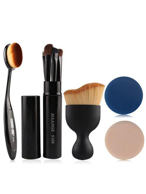 5 Pcs Eye Makeup Brushes Kit + Foundation Brush + Curved Blush Brush + Air PuffsBEAUTY<br><br>Color: BLACK; Category: Makeup Brushes Set; Brush Hair Material: Nylon; Features: Professional; Season: Fall,Spring,Summer,Winter; Weight: 0.100kg; Package Contents: 7 x Brushes (Pcs)  1 x Brush Holder   2 x Air Puffs?Pcs?;