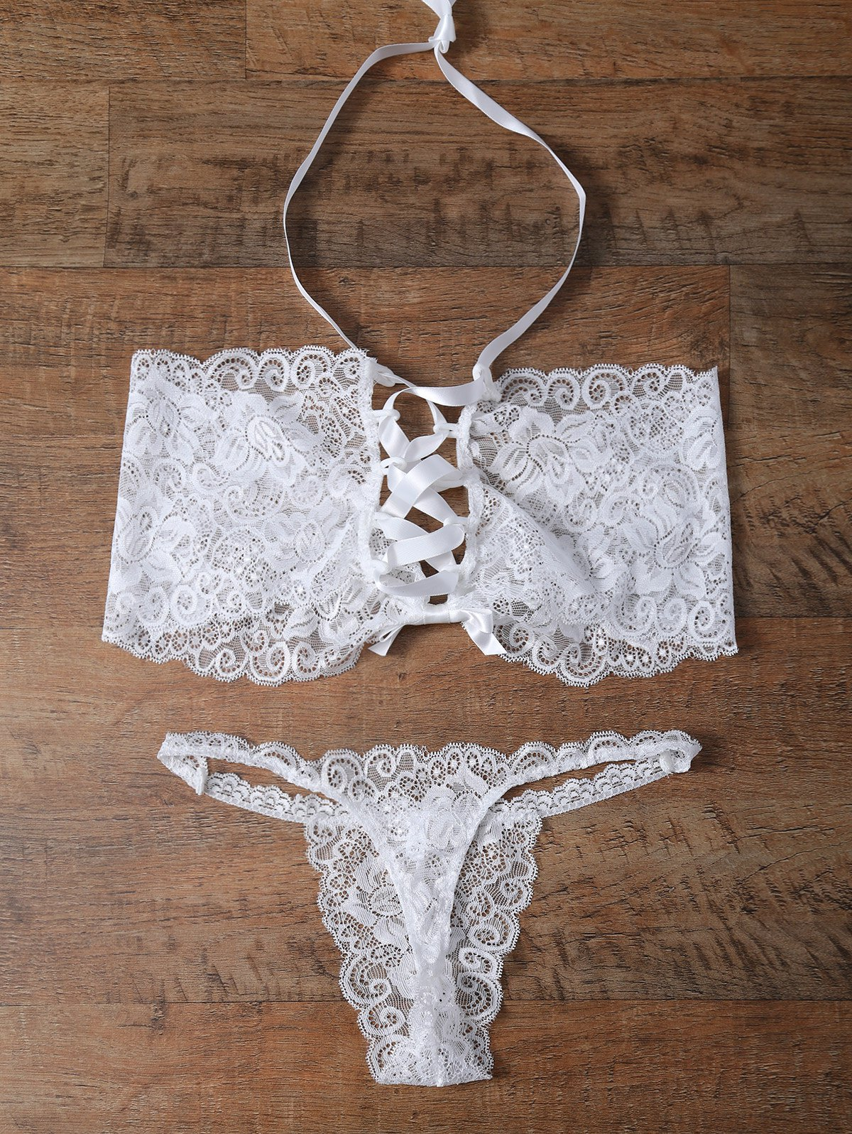 Cheap Unlined Bowknot Lace Wireless Bra and V String Panty