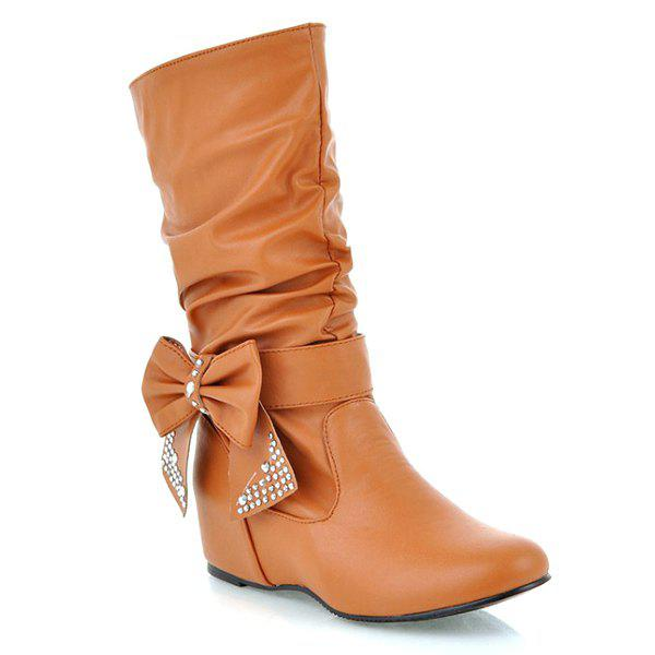 Fancy PU Leather Bowknot Ruched Mid Calf Boots