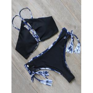 Printed Tie Side Tasselled Bikini Set -