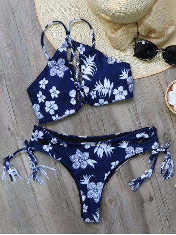 Outfit Printed Tie Side Tasselled Bikini Set