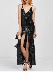 Sequin Slit Cami Glitter Evening Prom Dress