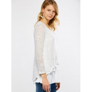 V Neck Layered Long Sleeve Pullover Sweater - WHITE XL