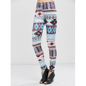 Geometrical Print Stretchy Leggings - Geometric Print - Xl