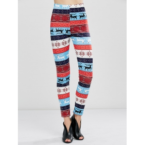 Christmas Fawn Print Leggings - Windsor Blue - S