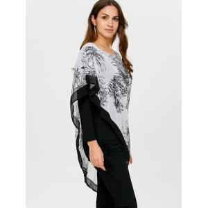 Asymmetrical Chinese Painting Insert Blouse - BLACK ONE SIZE