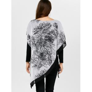 Asymmetrical Chinese Painting Insert Blouse -