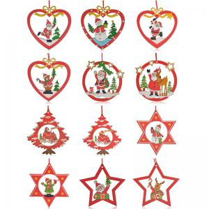 12PCS Santa Christmas Decoration Supplies Hanging Pendants
