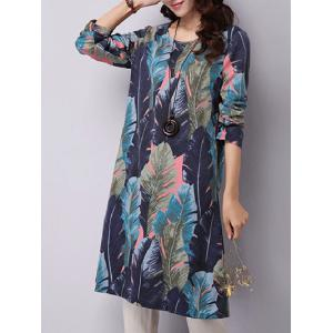 Feather Printed Long Sleeve Swing Dress - BLUE 2XL