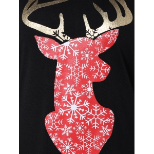 Christmas Elk Snowflake Print T-Shirt - BLACK XL