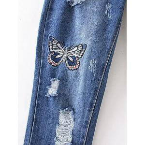 Butterfly Embroidery Ripped Jeans - DENIM BLUE S
