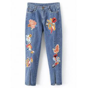 Slit Leg Low Rise Embroidery Jeans