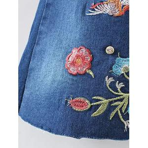 Bird Embroidery Bootcut Jeans - DENIM BLUE S