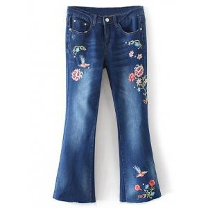Bird Embroidery Bootcut Jeans - Denim Blue - S
