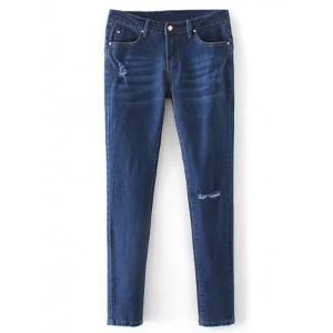 Low Rise Destroyed Cigarette Jeans