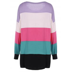 Plus Size Colorful Striped T-Shirt -