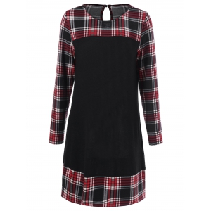 Plus Size Plaid Long Sleeve Shift Dress - Checked - 2xl
