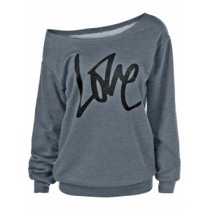 Skew Collar Love Plus Size Sweatshirt - Gray - 2xl