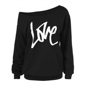Skew Collar Love Plus Size Sweatshirt - Black - 3xl