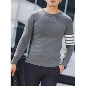 Crew Neck Button Cuff Striped Pullover Knitwear - GRAY 2XL