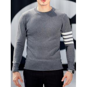 Crew Neck Button Cuff Striped Pullover Knitwear