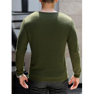 Round Neck Ribbed Knitted Pullover Sweater - ARMY GREEN 2XL