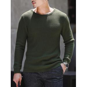 Round Neck Ribbed Knitted Pullover Sweater -