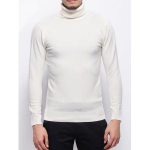 Stretchy Pullover Roll Neck Sweater - White - Xl