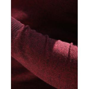 Slim Fit V Neck Pullover Knitwear - WINE RED 2XL