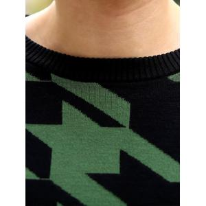 Slim Fit Round Neck Houndstooth Pullover Knitwear - GREEN 2XL
