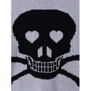 Skull Pattern High Low Hem Sweater - BLACK/GREY ONE SIZE(FIT SIZE XS TO M)