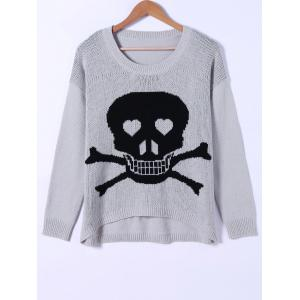 Skull Pattern High Low Hem Sweater - Black And Grey - One Size(fit Size Xs To M)