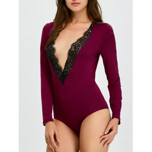 Long Sleeve Lace Panel Low Cut Bodysuit