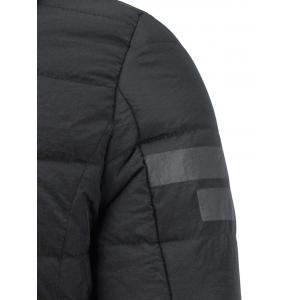 Stripe Design Drawstring Hooded Thicken Down Jacket - BLACK 4XL