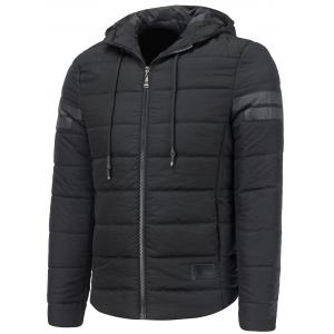 Stripe Design Drawstring Hooded Thicken Down Jacket