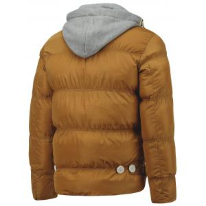Hooded Splicing Single Breasted Embellished Thicken Down Jacket -