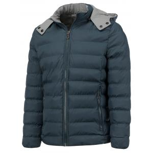 Hooded Color Block Zip Up Thicken Down Jacket