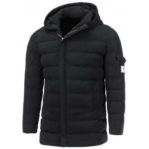 Hooded Pocket Design Zip Up Padded Coat