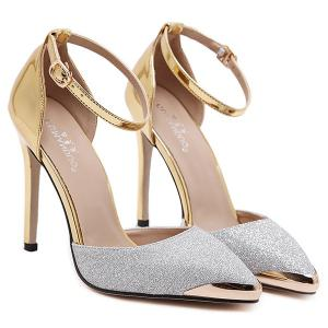 Two Piece Sequined Cloth Metal Toe Pumps - SILVER 38