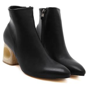 Hollow Out Pointed Toe Zipper Ankle Boots - BLACK 39
