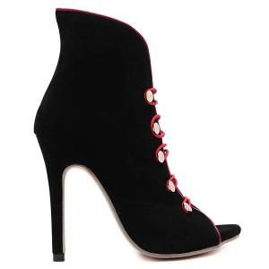 Buttons Peep Toe Flock Ankle Boots - BLACK 39
